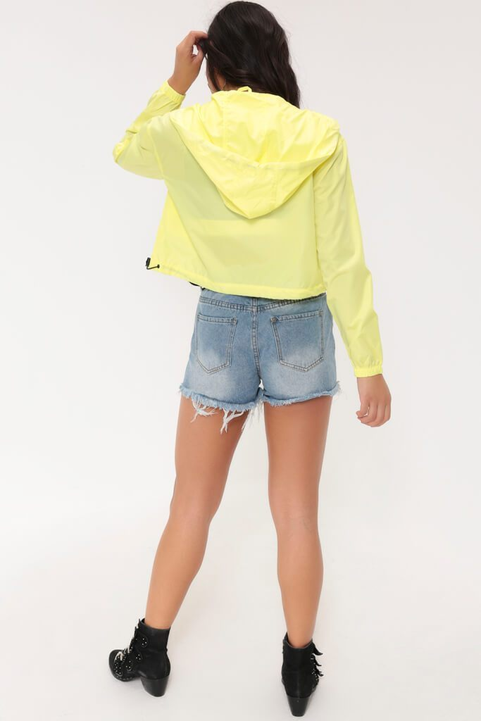 Neon Lime/ Black Cropped Waterproof Rain Mac