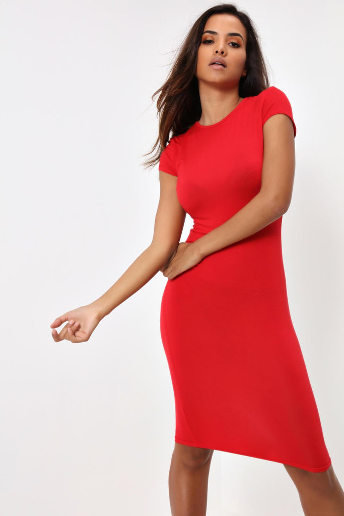 Red Cap Sleeve Basic Midi Dress