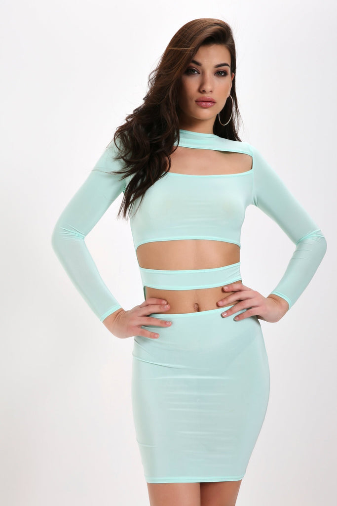 Mint Cut Out Slinky Bodycon Dress