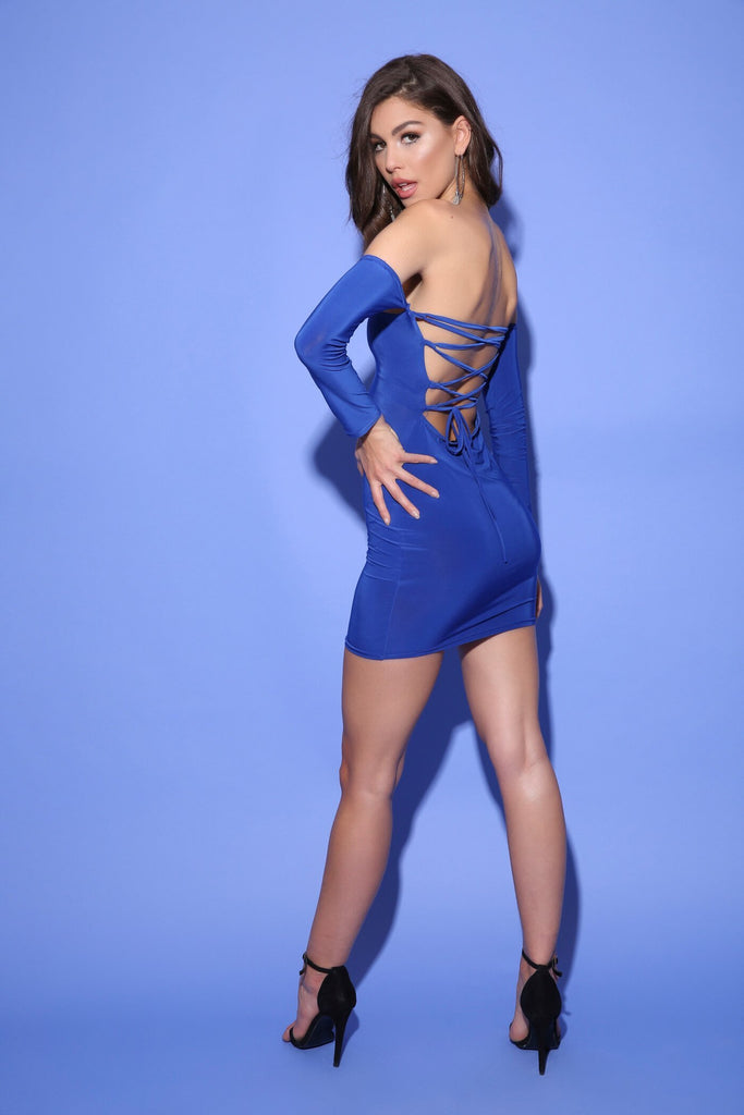 Cobalt Blue Off The Shoulder Lace Up Back Bodycon Dress