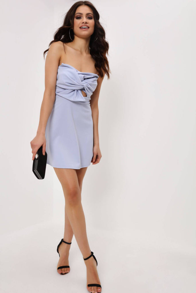 Skyblue Bardot Bow Front Mini Dress