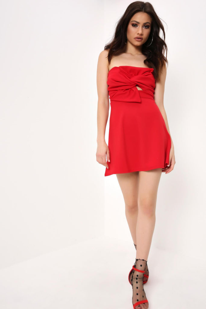 Red Bardot Bow Front Mini Dress