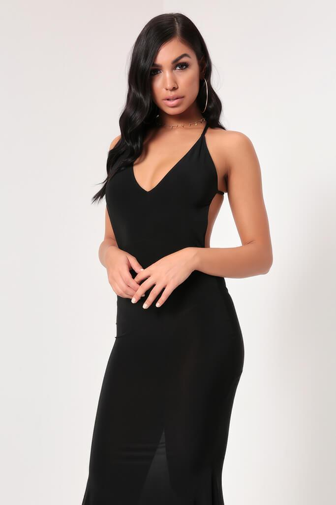 Black Hourglass Strappy Plunge Slinky Low Back Maxi