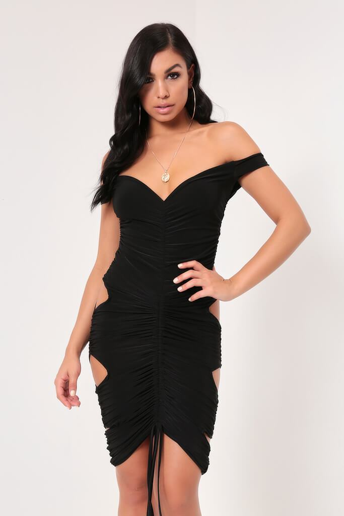 Black Hourglass Ruched Slinky Midi Dress