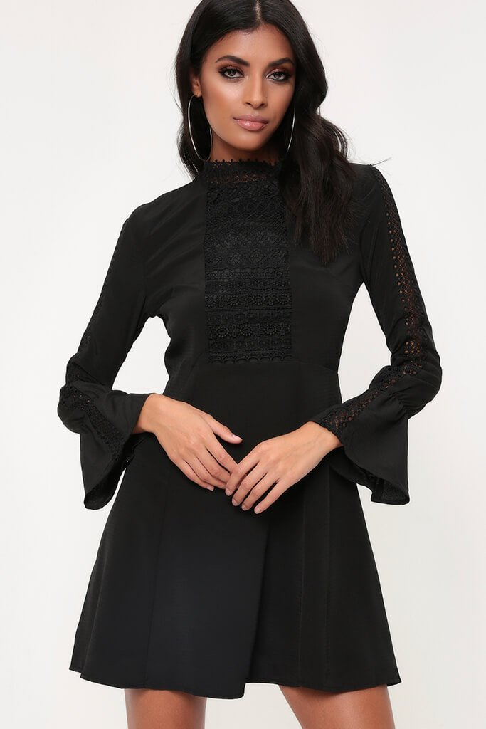 Black Crochet Trim Dress