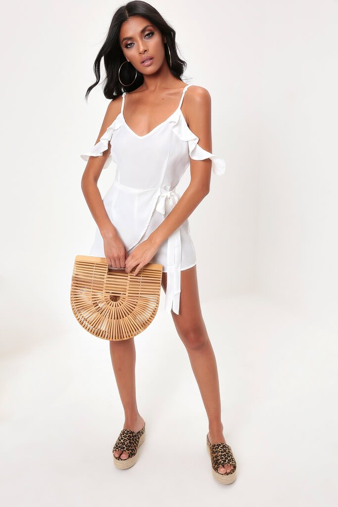 White Frill Sleeve Wrap Playsuit