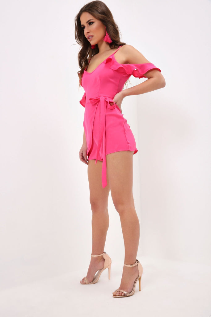 Pink Frill Sleeve Wrap Playsuit