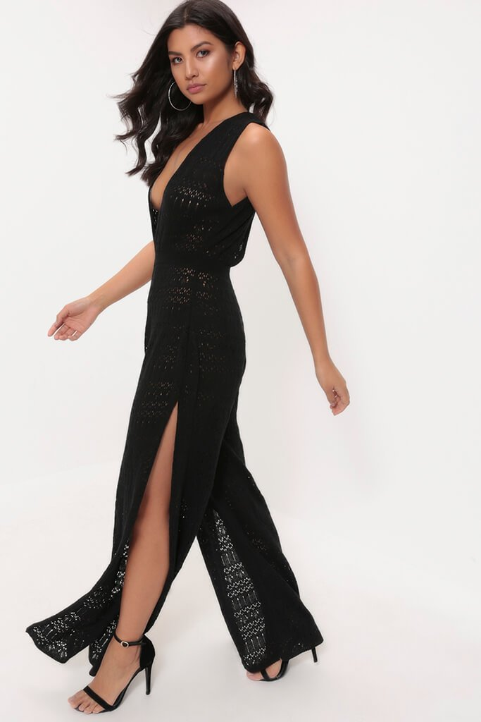 Black Crochet Plunge Jumpsuit