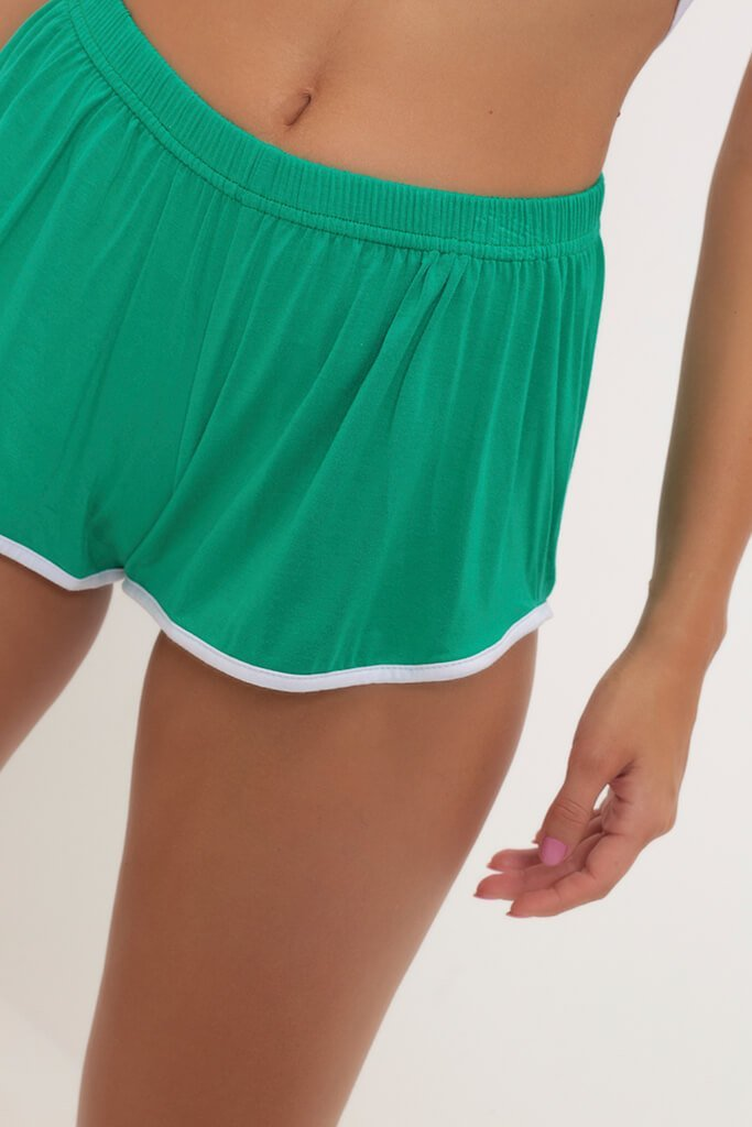 Green/White Contrast Binding Running Shorts