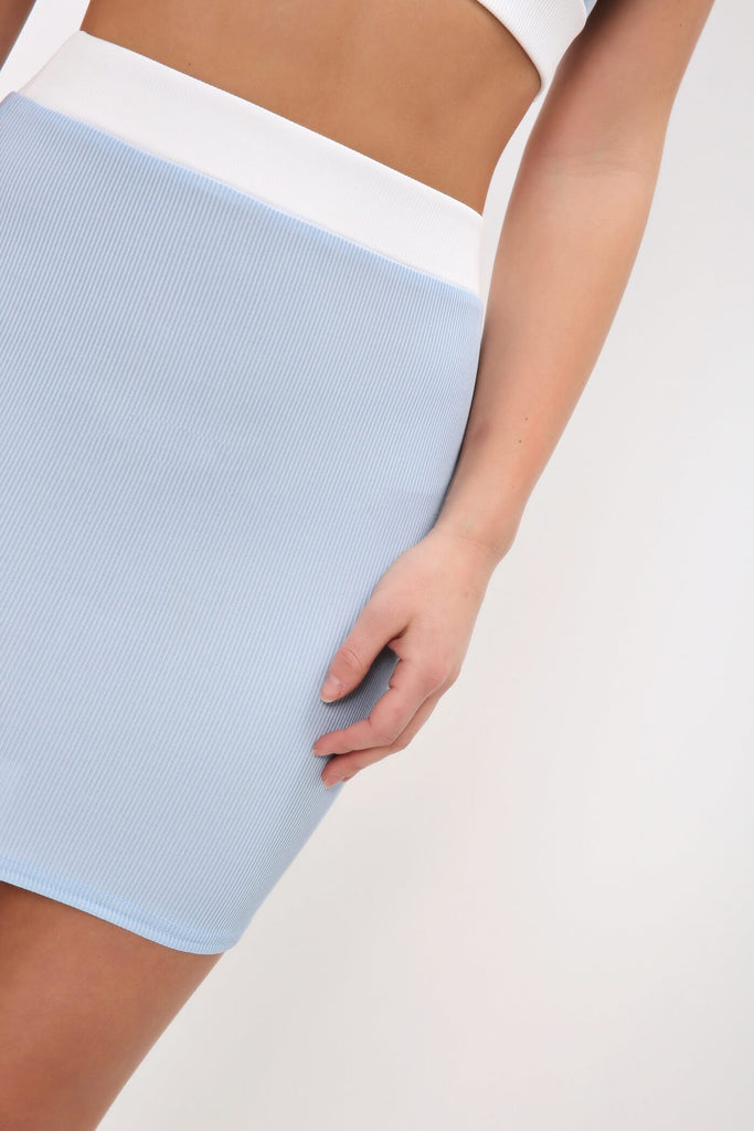 Baby Blue Contrast Waist Ribbed Mini Skirt