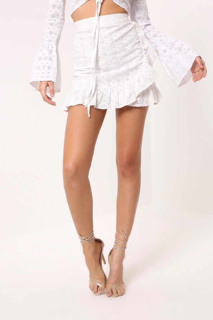 White Lace Frill Mini Skirt
