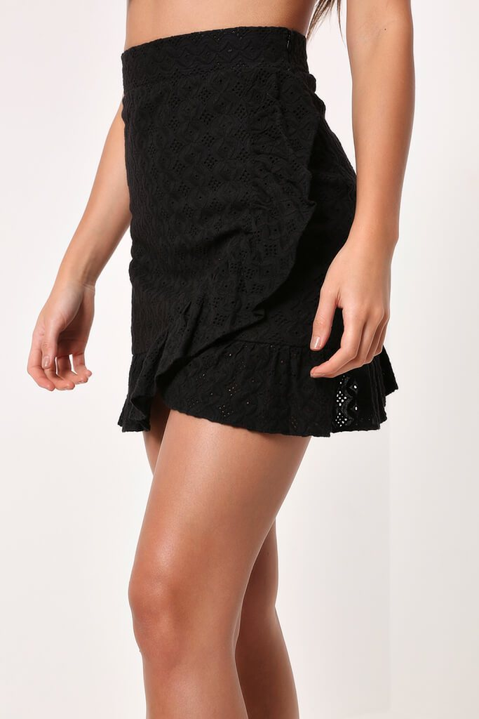 Black Lace Frill Mini Skirt