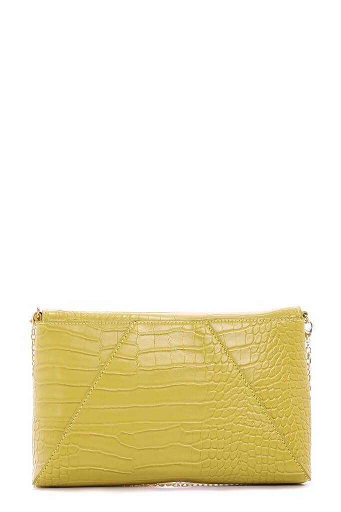 Lime Green Faux Snakeskin Leather Clutch Bag