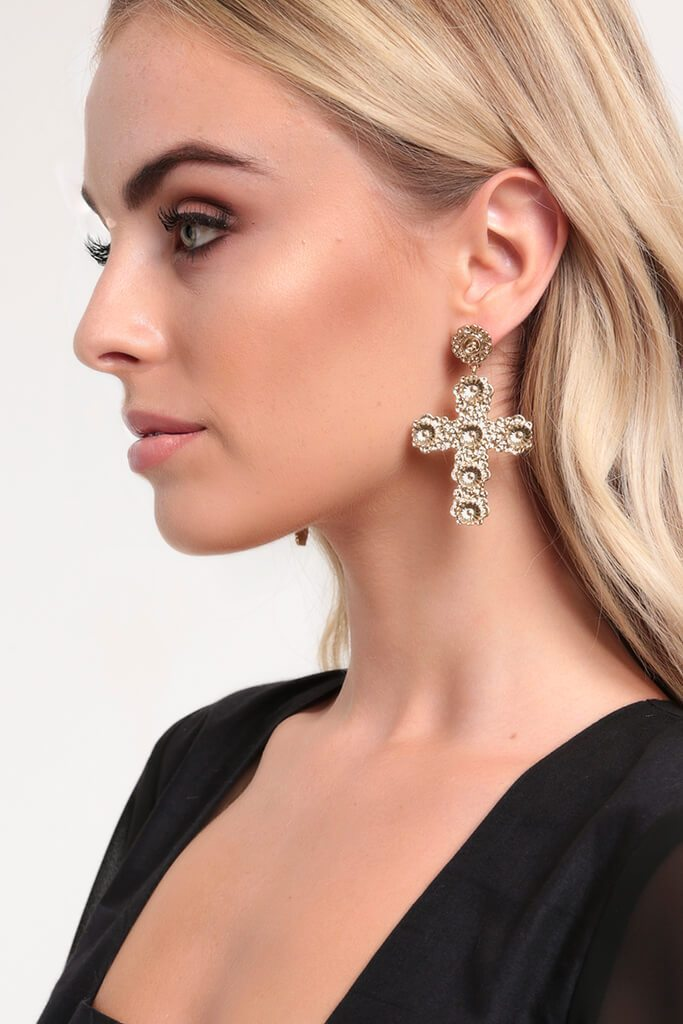 Gold Floral Cross Earrings