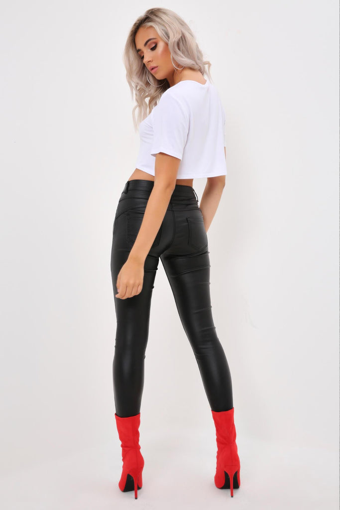 Black Coated Denim High Waisted Jeans