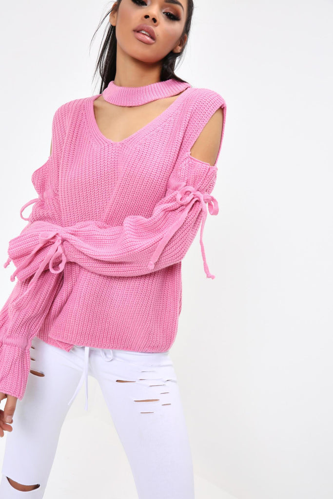 Fuchsia Choker Cold Shoulder Tie Sleeve Jumper
