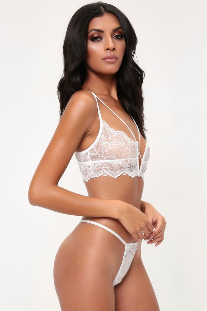 White Cross Detail Bralet & Thong Set
