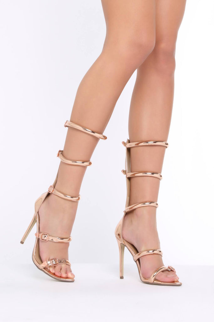 Rose Gold Gladiator High Heeled Sandals