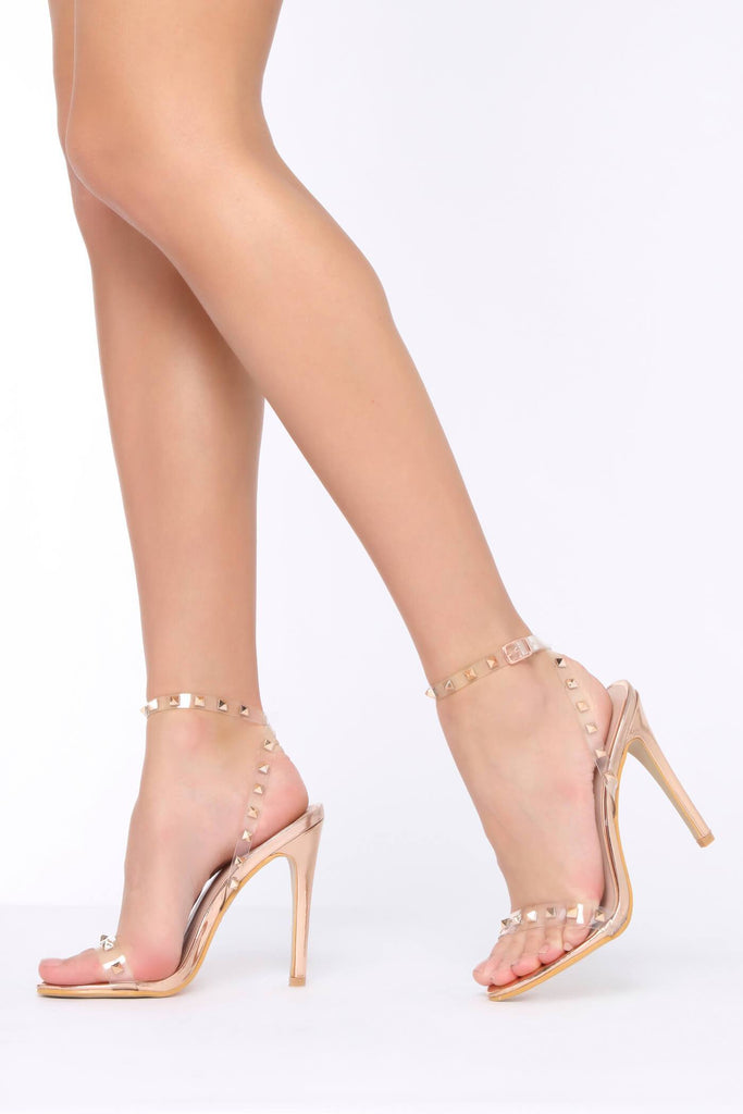 Rose Gold Clear Strap Studded Strappy Heels