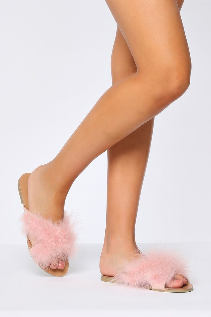 Pink Fluffy Wooden Sole Sliders