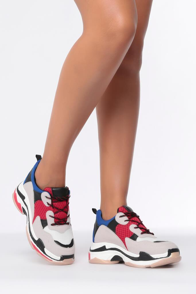 Navy/Red Chunky Sole Trainers