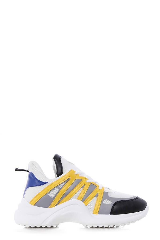 White/Yellow Arched Detailed Trainers