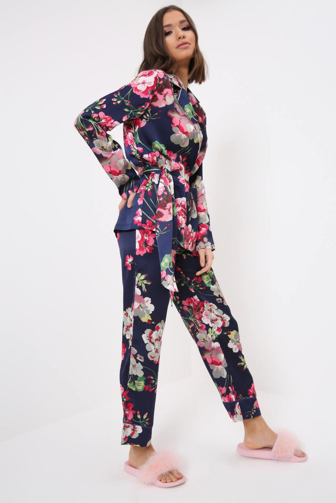 Navy Floral Print Pyjama Bottoms