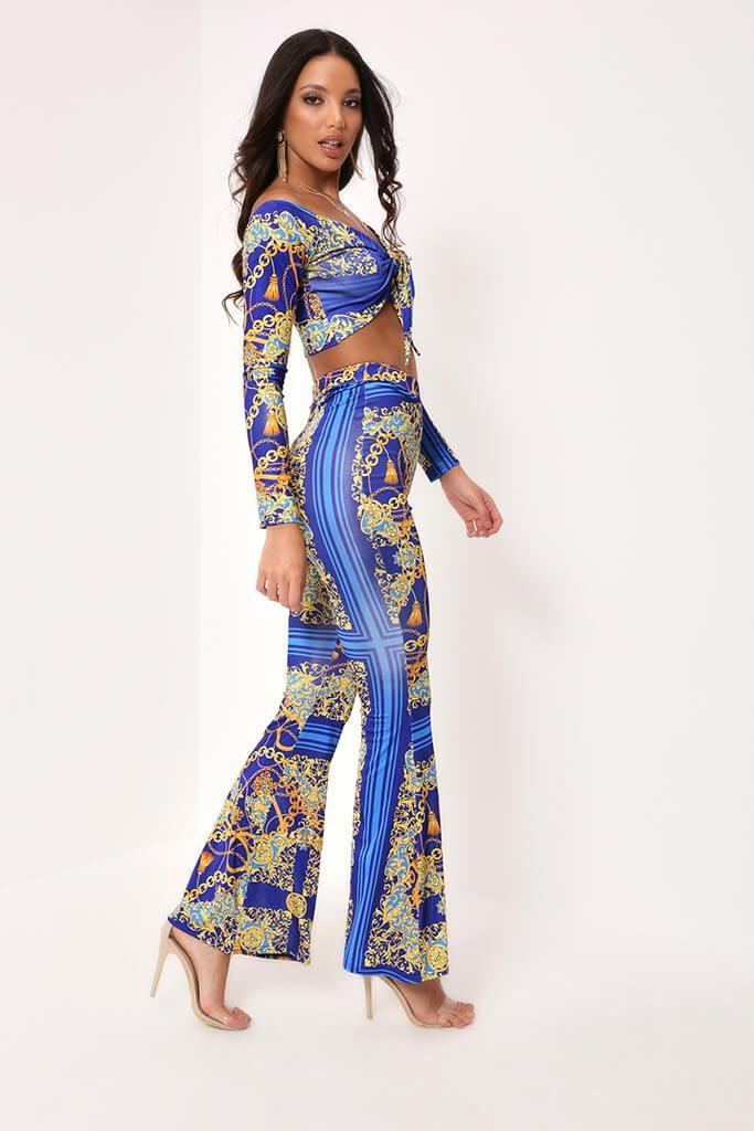 Blue High Waisted Wide Leg Trousers