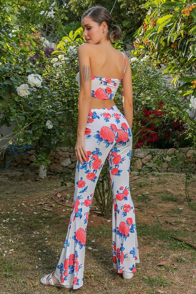Multi Floral Slinky Flare Trousers