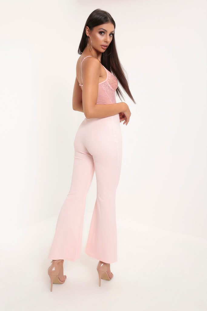 Pink High Waist Flare Trousers