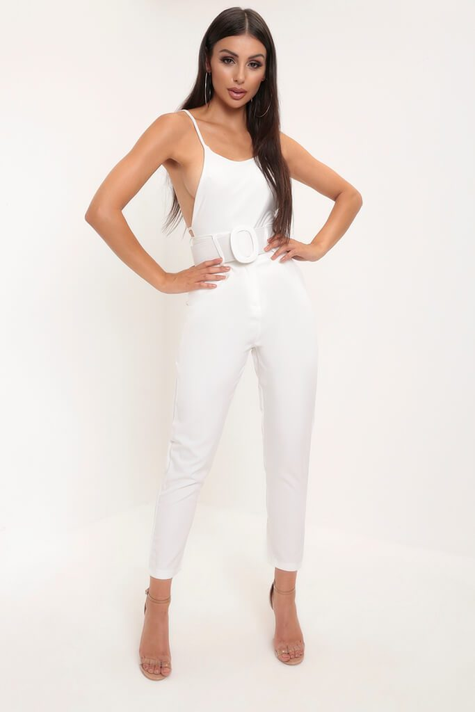 White High Waist Belted Trousers