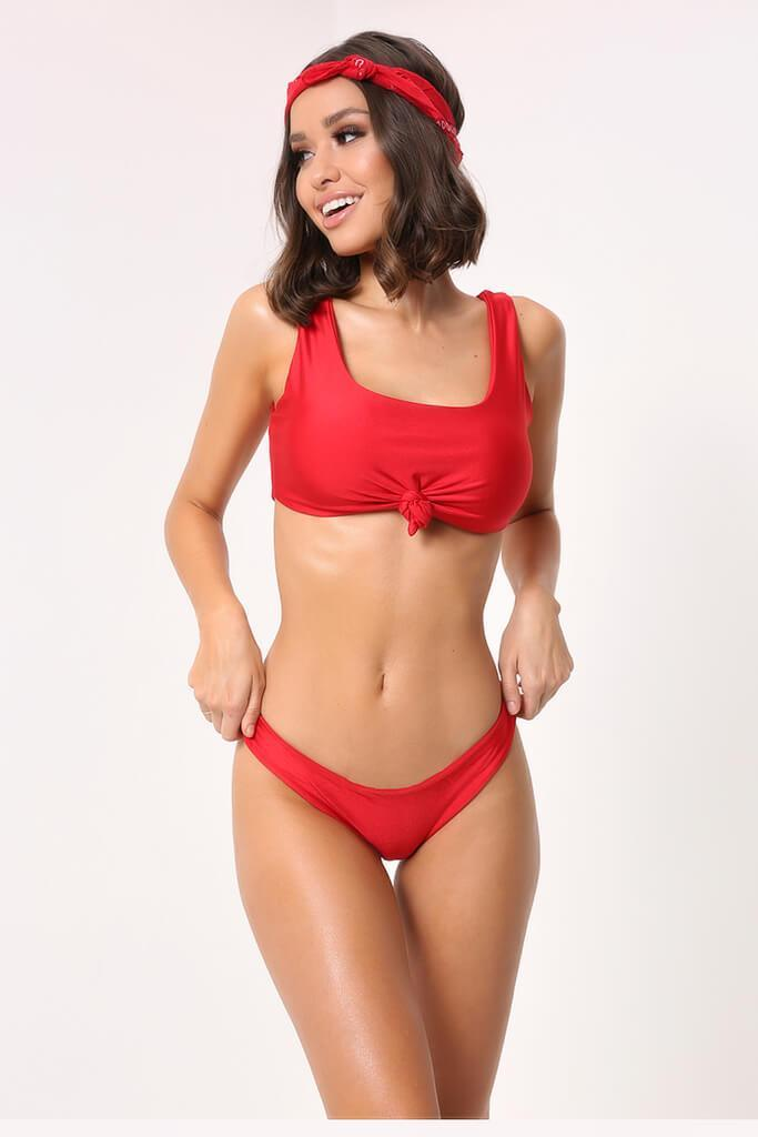 Red Knot Front Bikini Set