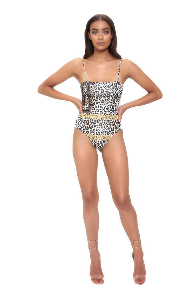 Leopard High Leg Square Neck Leopard Print Swimsuit