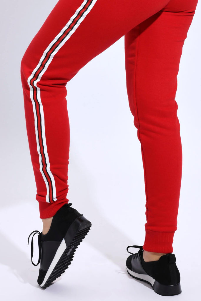 Red Fitted Joggers With Contrast Stripe