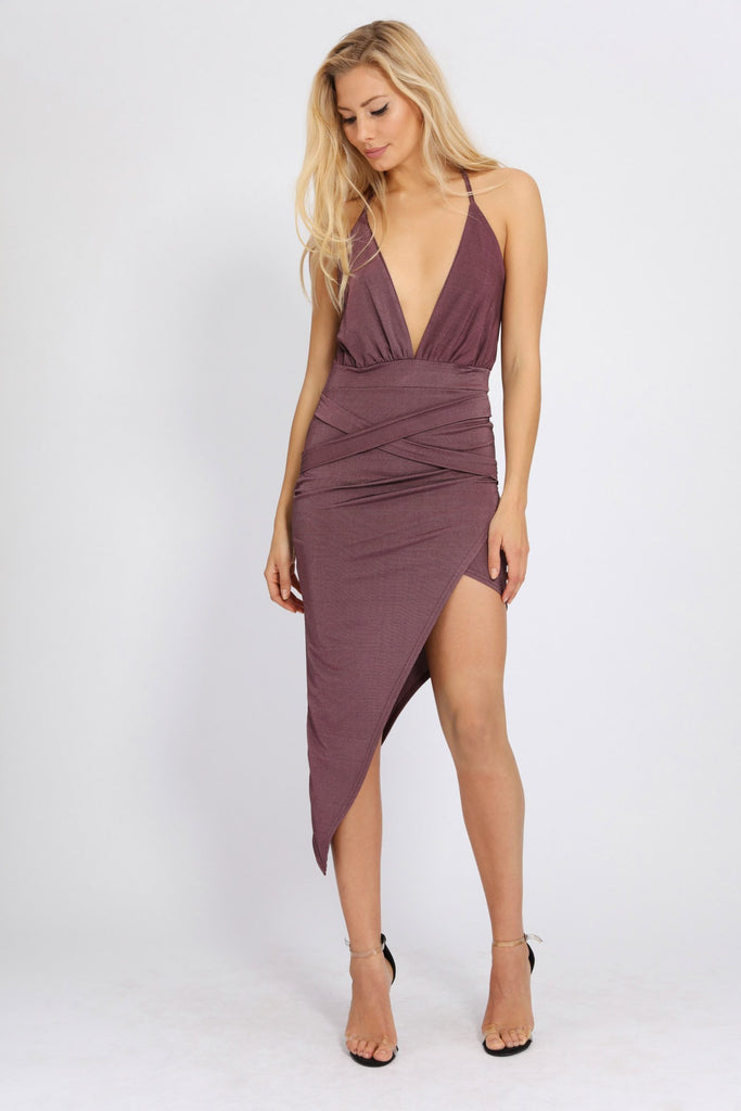 Rose Deep Plunge Strappy Wrap Dress