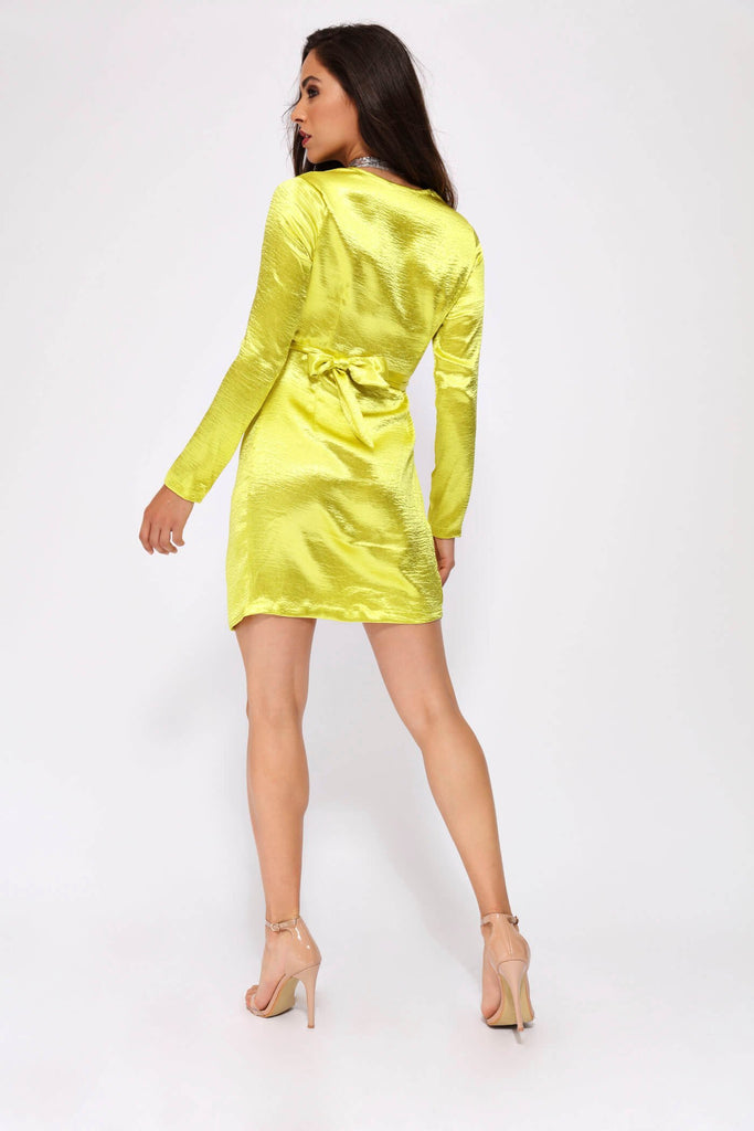 Lime Knot Detail Long Sleeve Dress