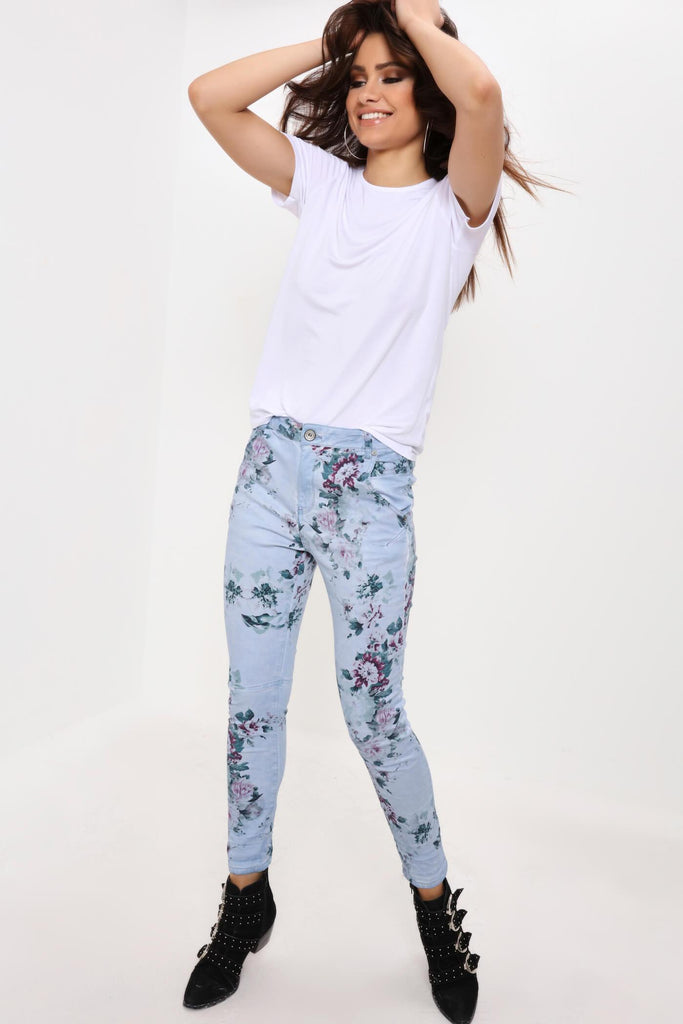 Blue Floral Ruched Jeans
