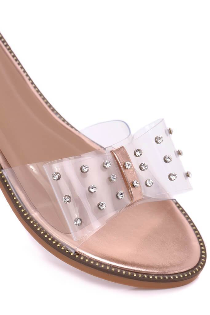 Rose Gold Clear Bow Flip Flop