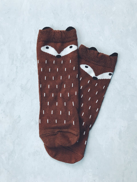 brown fox socks instagram australia character socks girl boy gift