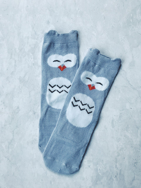 owl socks baby boy girl grey character instagram gift