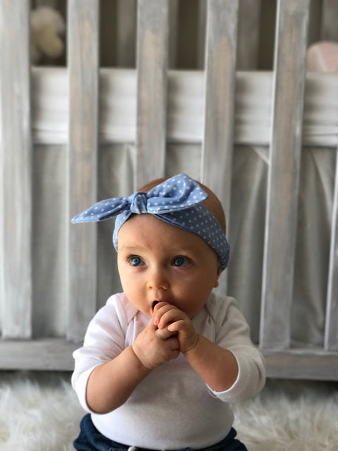 headband baby girl polka dot blue knot tie