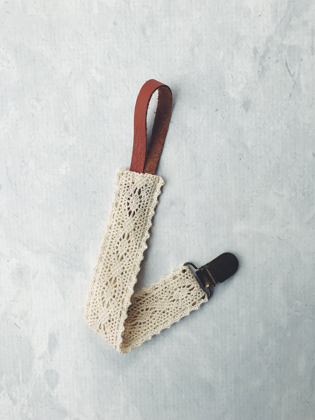 Leather and Crochet Lace Dummy Clip 'Boho' Baby Gift