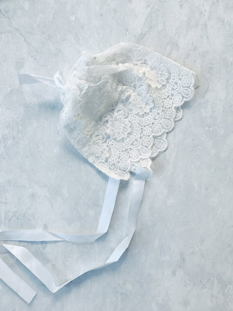 CHRISTENING OR WANDERLUST OFF-WHITE LACE BONNET HAT