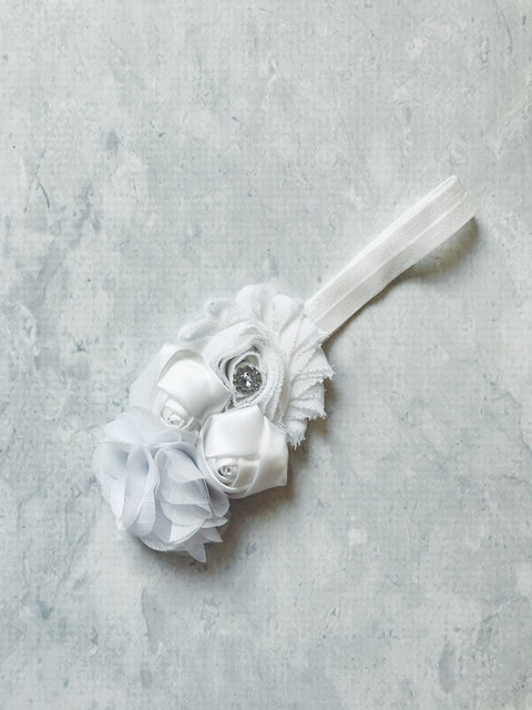 headband girl christening wedding white flowergirl