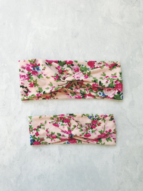 headband floral mum and bub baby girl matching set