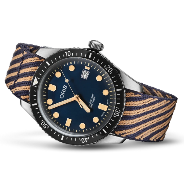 ORIS TEXTILE RECYCLED STRAP BLUE/TAN DIVER SIXTYFIVE