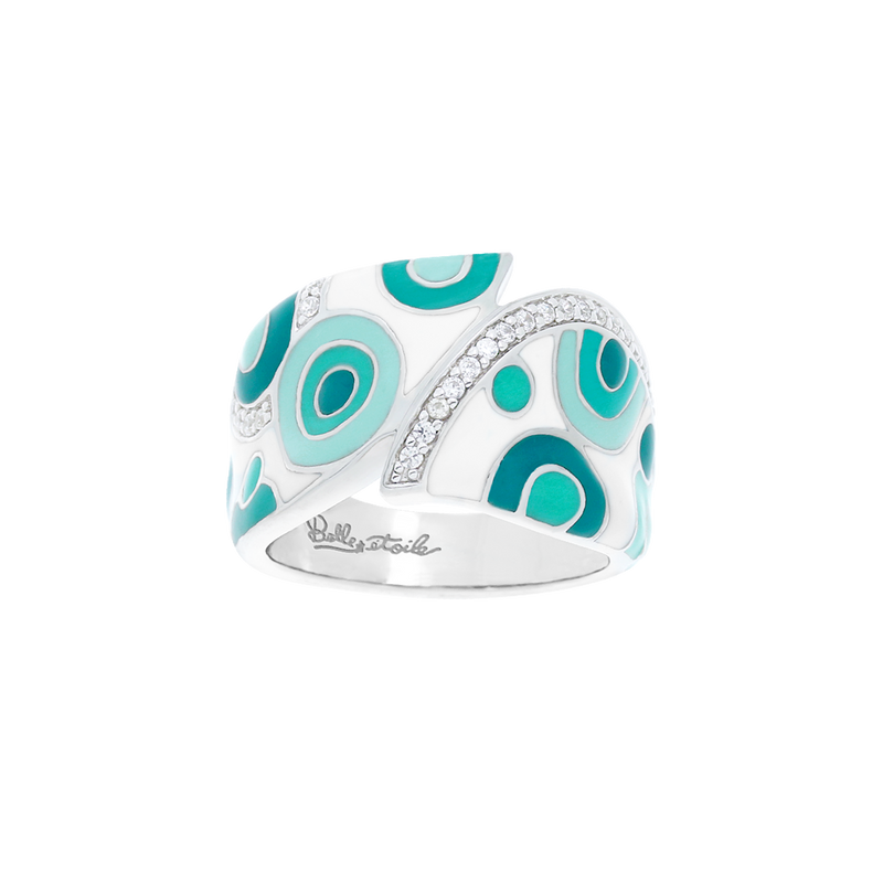 Groovy White Aqua Ring