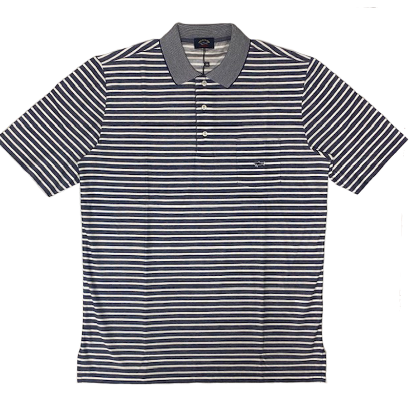 Knitted Polo Striped Navy & White