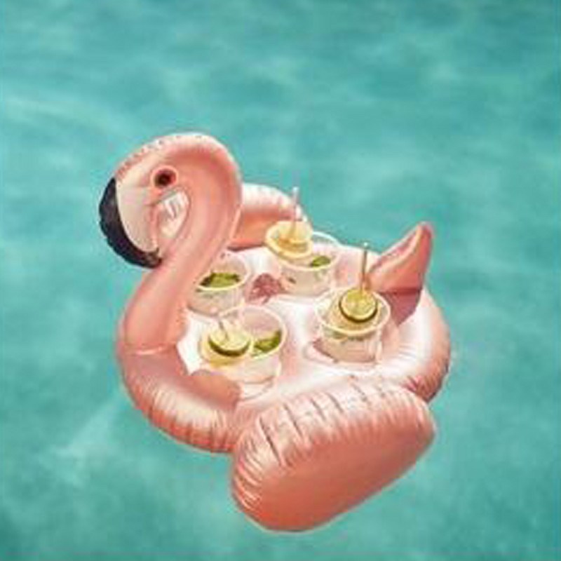 Inflatable Family Drink Holder | Flamingo Rose Gold