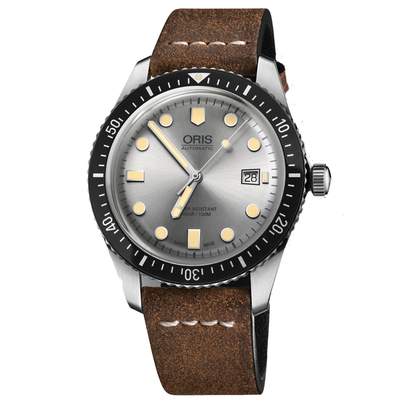Oris Diver 65 silver dial, 42 mm, brown leather strap